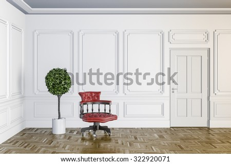 3d render of classic interior with wooden floor - stock photo