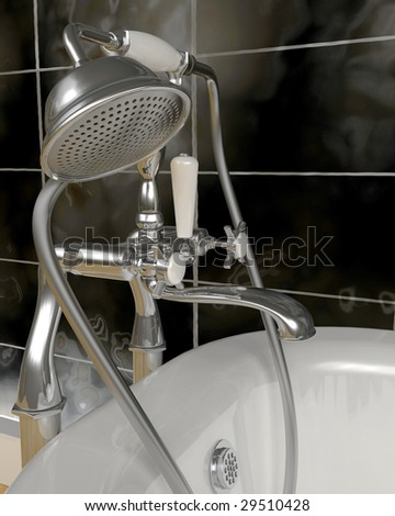 3d render of classic roll top bath and taps with shower attachment  in contemporary  interior