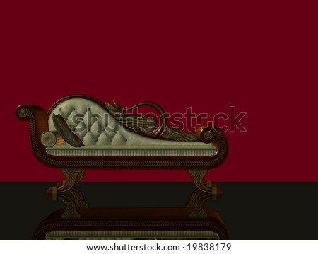 3d render of classical chaise longue with reflecting floor and red background - stock photo