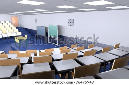 3d render of classroom interior