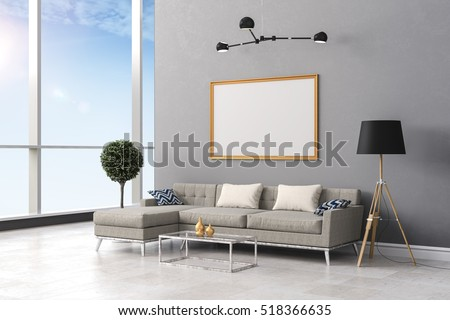 3d render of clean beautiful  interior room setup
