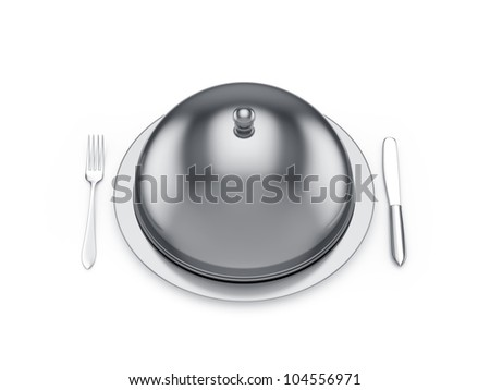 3d render of cloche with knife and fork, isolated on white background - stock photo