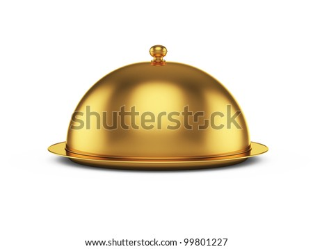 3d render of closed godlen cloche, isolated on white background