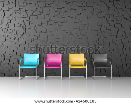 3D render of CMYK colored chairs in the print shop waiting room - stock photo
