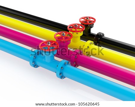 3d render of cmyk pipelines isolated on white background - stock photo