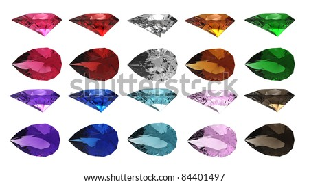 3d render of  collection of jewels in the form of tear