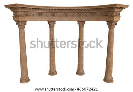 3d render of colonnade on a white background