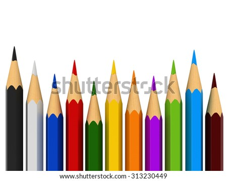 3d render of color pencils isolated over white background