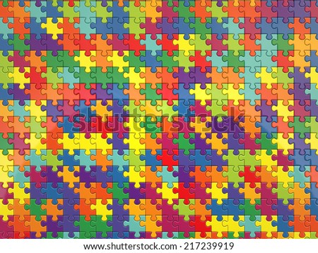 3d render of colorful jigsaw background  - stock photo