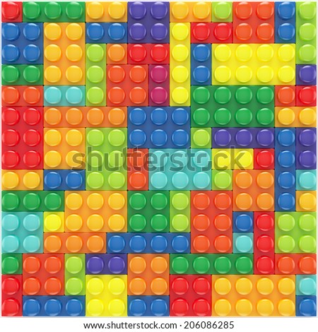 3d render of colorful lego set background - stock photo