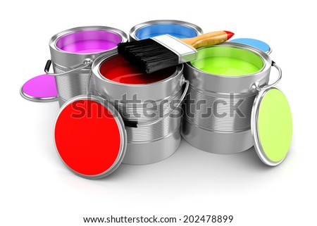 3d render of colorful paint bucket on white background - stock photo