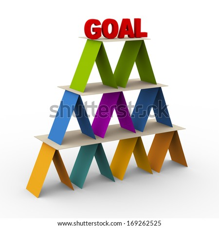 3d render of colorful pyramid with word goal on on the top - stock photo