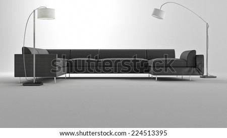 3d render of comfortable gray sofa with two floor lamps in thr studio - stock photo