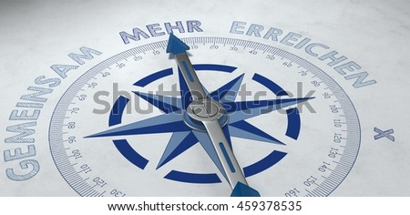 3d render of compass pointing to German word mehr, for concept about more and greater things - stock photo