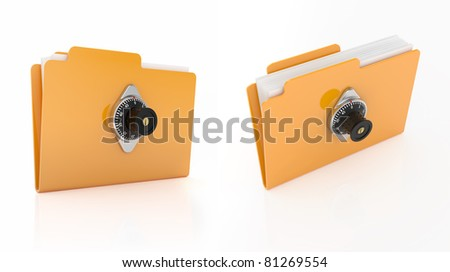 3d render of computer folder with combination lock on white background