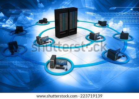 3d render of Computer Network and internet communication concept	 - stock photo