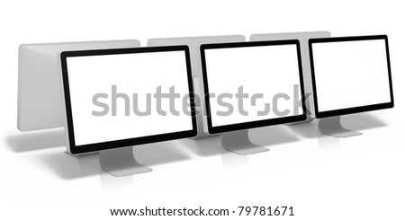 3d render of computer screens, isolated on white background