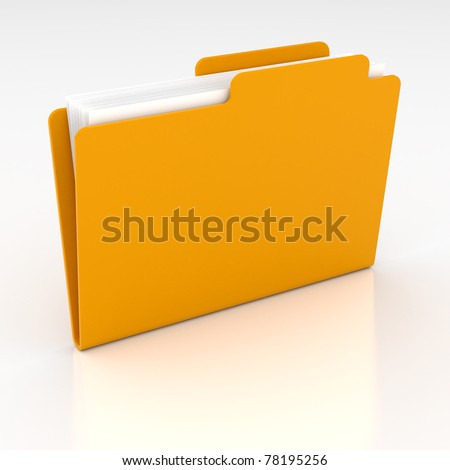 3d render of computer yellow folder on white background - stock photo