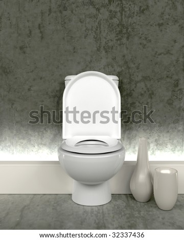 3d render of contemporary toilet - stock photo