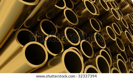 3d render of copper pipes