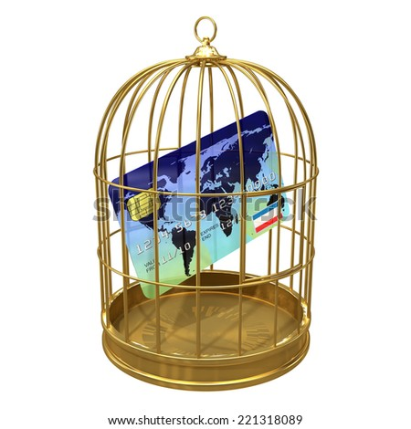3d render of credit card in a birdcage - stock photo