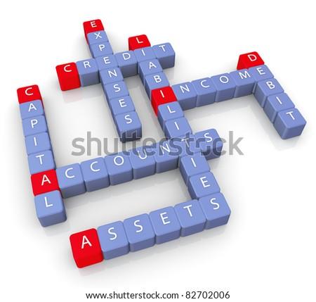 3d render of crossword of accounts concept - stock photo
