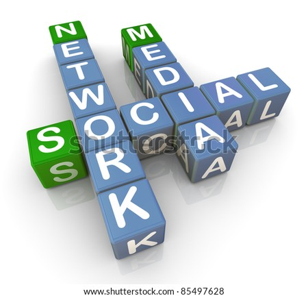 3d render of crossword of 'social media network'