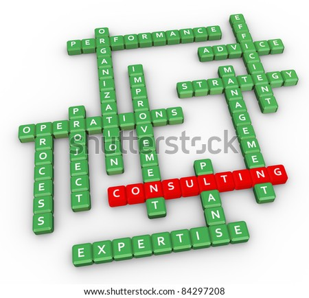 3d render of crossword related to word 'consulting' - stock photo