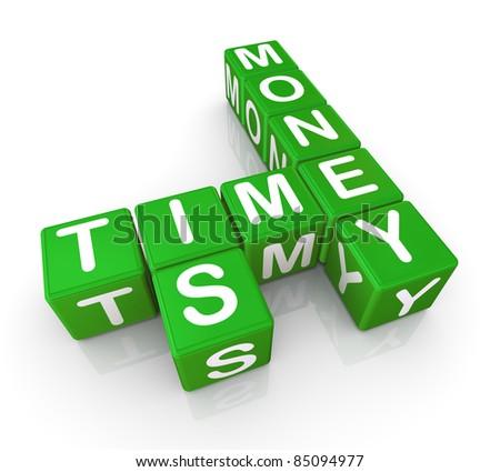 3d render of crosswords 'time is money' - stock photo