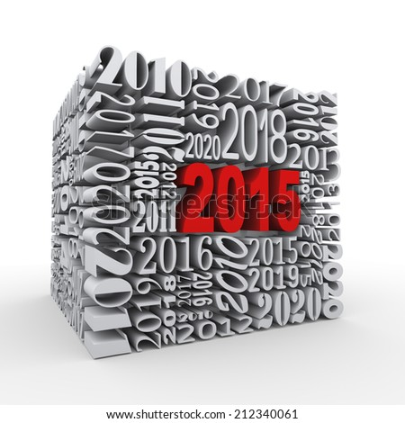 3d render of cube shape created with various year numbers and having one large new year 2015 - stock photo