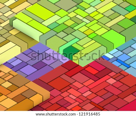 3d render of cubic shape in multiple rainbow color - stock photo