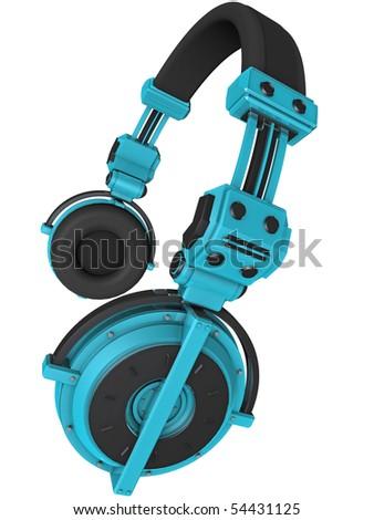 3D Render of Custom Blue Headphones - stock photo
