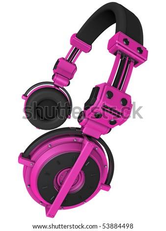 3D Render of Custom Pink Headphones - stock photo