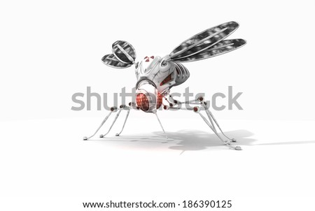 3d render of cyber mosquito - stock photo