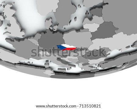 3D render of Czech republic with flag on grey globe. 3D illustration.
