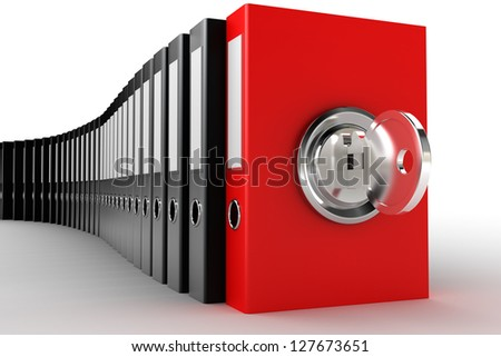 3d render of data protection  with key. Concept of securing and protecting sensitive data - stock photo