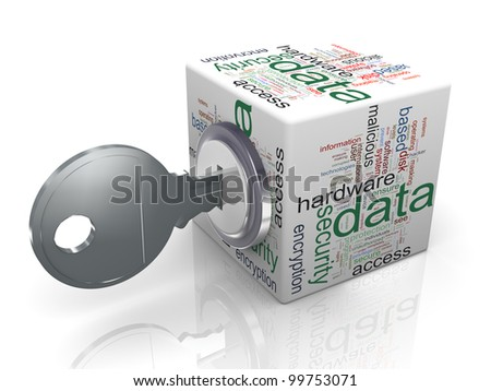 3d render of data protection wordcloud cube with key. Concept of securing and protecting sensitive data
