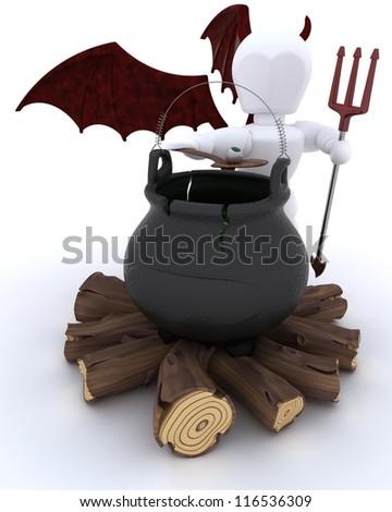 3D render of deamon with cauldron of eyeballs on log fire - stock photo