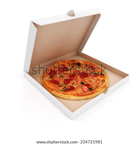 3d render of delicious pizza and box on white background - stock photo
