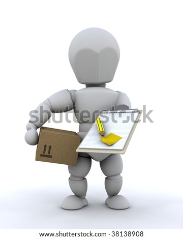 3D render of delivery man with package and clipboard - stock photo