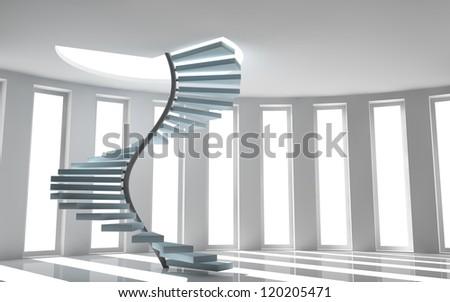 3D render of design interior with elegant spiral stairs