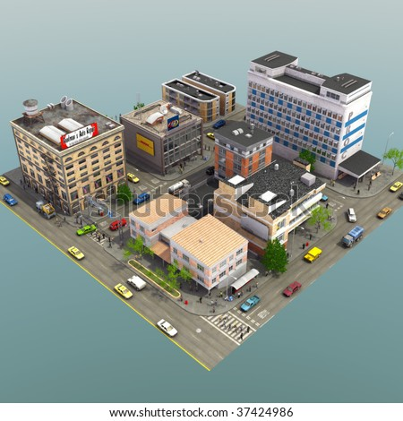3D Render of detailed city block - stock photo
