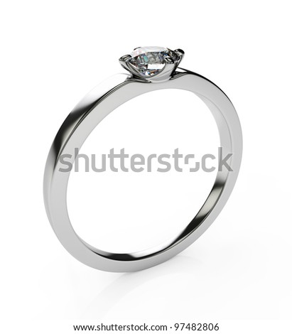 3d render of diamond ring isolated on white background