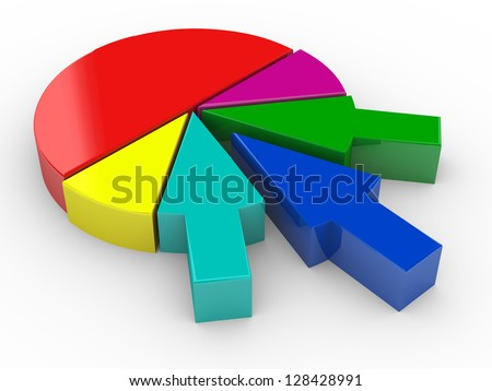 3d render of different arrow merging and completing pie chart. Concept of business merges and acquisitions - stock photo
