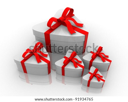 3D render of different sizes white gift box wrapped in red ribbon - 3d illustration