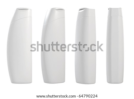 3d render of different views white container templates - stock photo