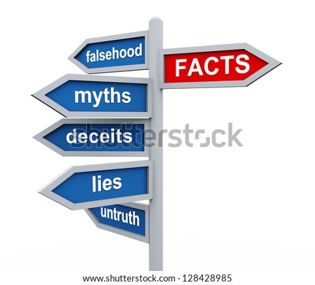 3d render of directional roadsing of facts vs untruth lies stories myths. - stock photo