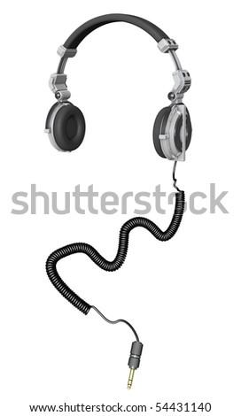 3D Render of DJ headphones - stock photo