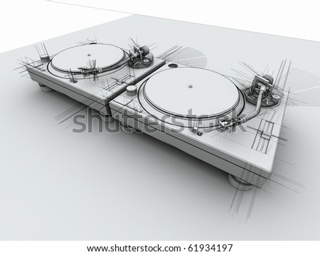 3D render of 2 DJ turntables in with sketched drafting look - stock photo