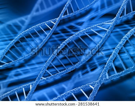 3D render of DNA strands on abstract background - stock photo